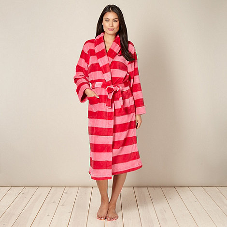 Lounge & Sleep - Dark pink striped fleece dressing gown