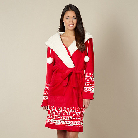 Lounge & Sleep - Red fleece reindeer dressing gown
