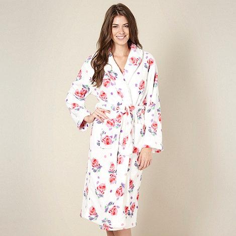 Lounge & Sleep - Cream rose print fleece dressing gown