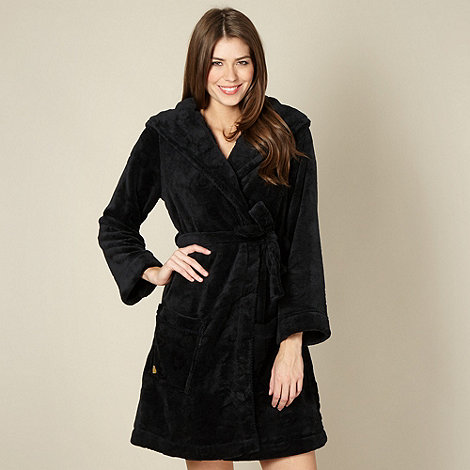 Floozie by Frost French - Black heart embossed dressing gown