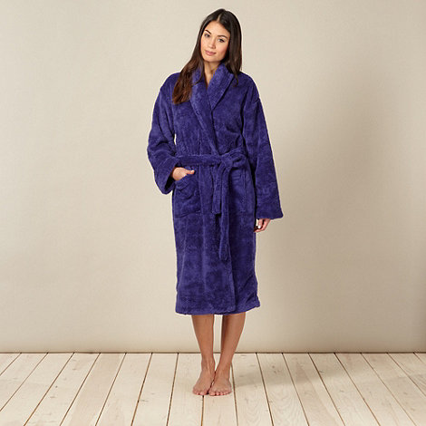 Lounge & Sleep - Blue fleece shawl collar dressing gown