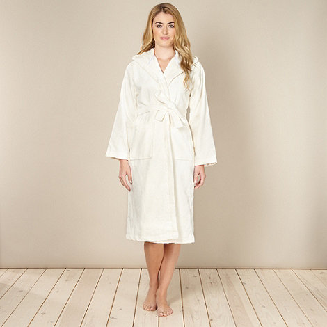 J by Jasper Conran - Designer cream velour towelling dressing gowns