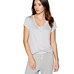 J by Jasper Conran - Grey printed 'Dreamscape' short sleeve pyjama top
