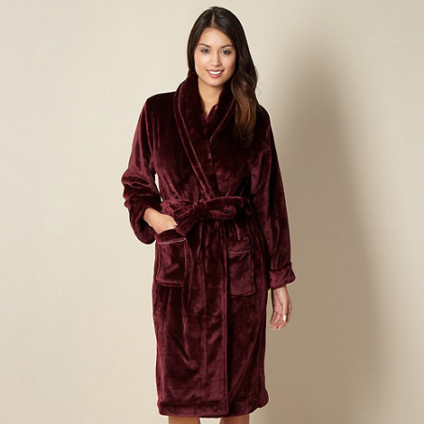 J by Jasper Conran - Designer dark red supersoft fleece dressing gown