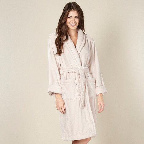 J by Jasper Conran - Designer pale pink supersoft fleece dressing gown