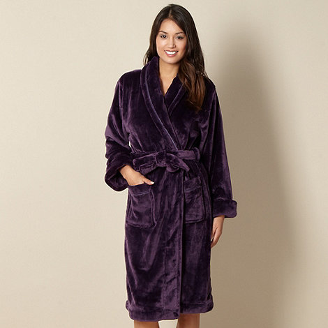 J by Jasper Conran - Designer purple supersoft fleece dressing gown