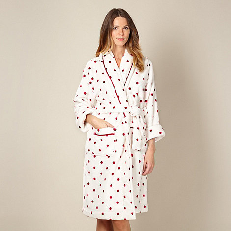 J by Jasper Conran - Online exclusive designer pale pink spotted supersoft fleece dressing gown