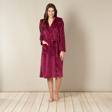 J by Jasper Conran - Designer dark pink hooded dressing gown