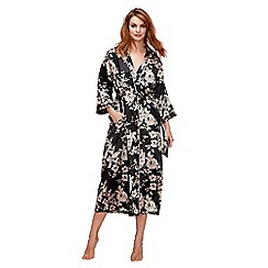 The Collection - Black floral print 'Royale' dressing gown