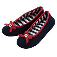 Navy striped jersey ballet slippers