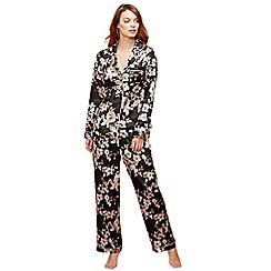 The Collection - Black floral print 'Royale' pyjama set