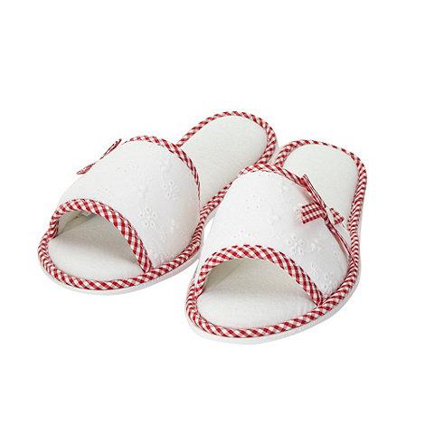 RJR.John Rocha - Designer white broderie mule slippers