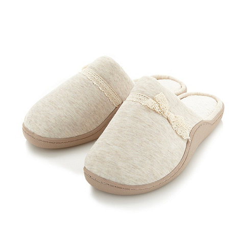 Classics - Cream lace trimmed mule slippers