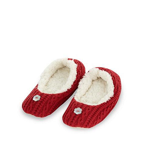 RJR.John Rocha - Designer red cable knit ballet slippers