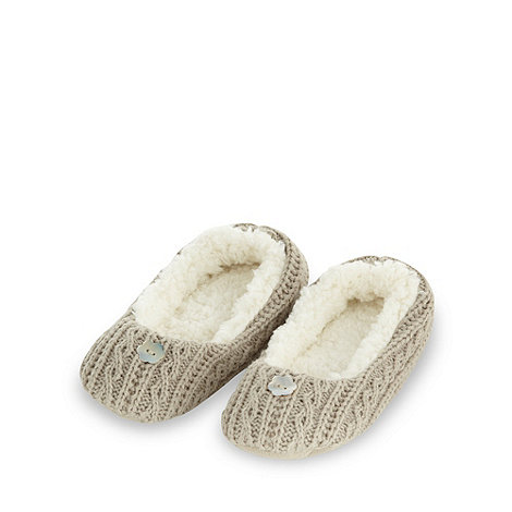 RJR.John Rocha - Designer natural cable knit ballet slippers