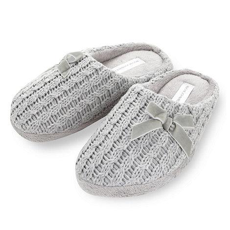 RJR.John Rocha - Designer grey knitted mule slippers
