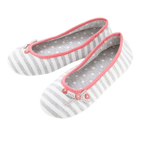 Lounge & Sleep - Grey striped ballet slippers