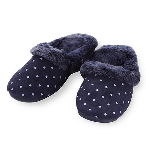Lounge & Sleep - Navy dotted mule slippers