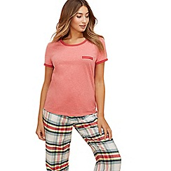 Lounge & Sleep - Red short sleeve 'Jackie' pyjama top