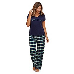 Lounge & Sleep - Navy checked 'Jackie' pyjama set