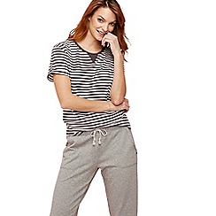 Lounge & Sleep - Grey striped print short sleeve pyjama top