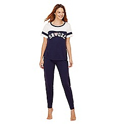 Lounge & Sleep - Navy 'Snooze' cotton rich pyjama set