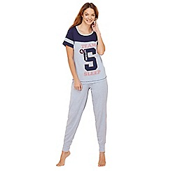 Lounge & Sleep - Blue 'Team 5 sleep' cotton rich pyjama set