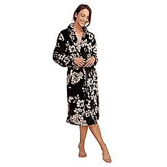 Lounge & Sleep - Black floral print dressing gown