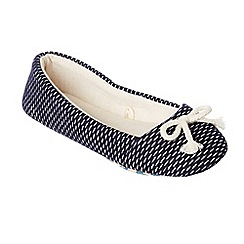 Lounge & Sleep - Navy textured ballerina slippers
