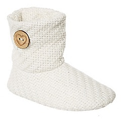 Lounge & Sleep - Ivory knitted slipper boots