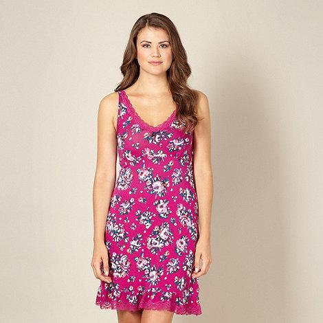 Gorgeous DD+ - Dark pink floral DD-G cup chemise