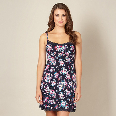 Gorgeous DD+ - Navy floral DD-G cup chemise