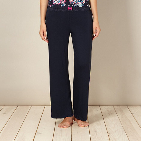 Gorgeous DD+ - Navy jersey floral trim pyjama bottoms