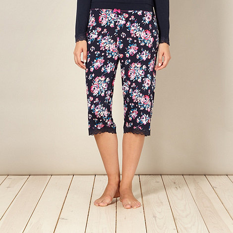 Gorgeous DD+ - Navy floral cropped pyjama bottoms