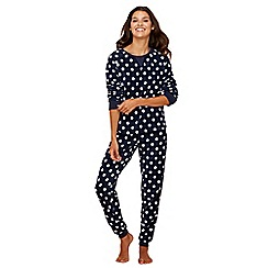 Lounge & Sleep - Navy spot print fleece long sleeve pyjama set
