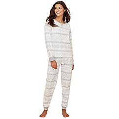 Lounge & Sleep - Grey Fair Isle print fleece long sleeve pyjama set