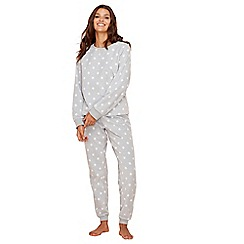 Lounge & Sleep - Grey star print fleece long sleeve pyjama set
