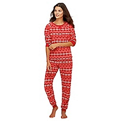 Lounge & Sleep - Red Fair Isle print fleece long sleeve pyjama set