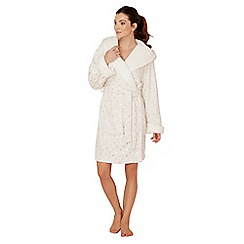 Lounge & Sleep - Cream star print fleece dressing gown