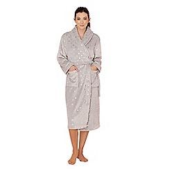 Lounge & Sleep - Grey spot print fleece dressing gown