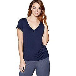 J by Jasper Conran - Navy short sleeve pyjama top