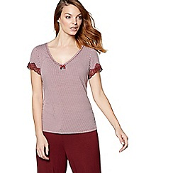 J by Jasper Conran - Dark red geometric print 'Belle' short sleeve pyjama top