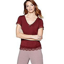 J by Jasper Conran - Dark red 'Belle' short sleeve pyjama top