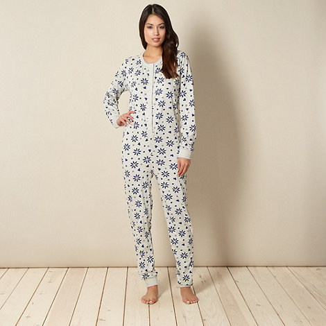 Lounge & Sleep - Grey snowflake patterned onesie in a gift bag
