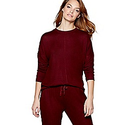 J by Jasper Conran - Dark red 'Belle' long sleeve loungewear top