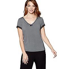 J by Jasper Conran - Black geometric print 'Ce Soir' short sleeve pyjama top