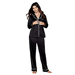 J by Jasper Conran - Black satin 'Ce Soir' long sleeve pyjama set