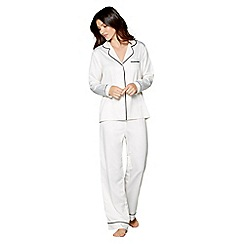 J by Jasper Conran - Ivory satin 'Ce Soir' long sleeve pyjama set