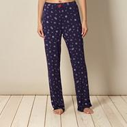 Navy floral printed jersey pyjama bottoms