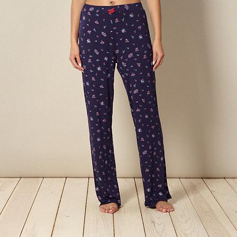 Lounge & Sleep - Navy floral printed jersey pyjama bottoms